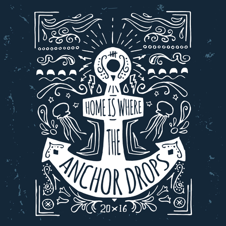 anchor drawing: Hand drawn label with an anchor and lettering on grunge background
