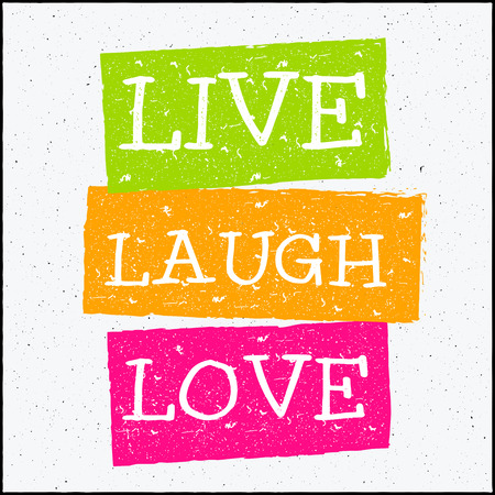 Vector design hipster illustration with phrase Live laugh love