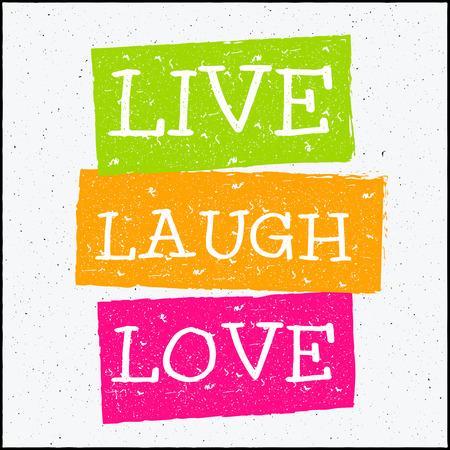 riendo: Vector de diseño inconformista ilustración con la frase de amor de la risa en Vivo