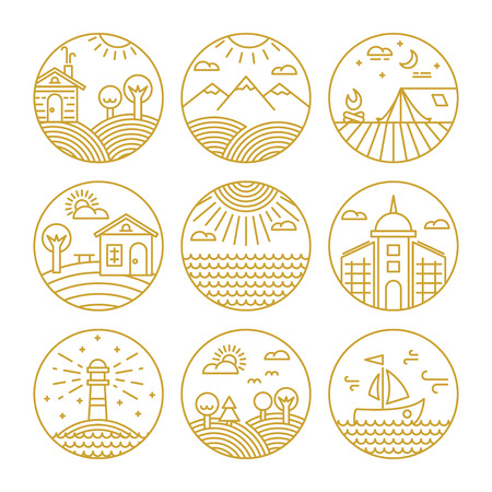 Vector conceptual linear icons or badges and logo design elements with landscapes