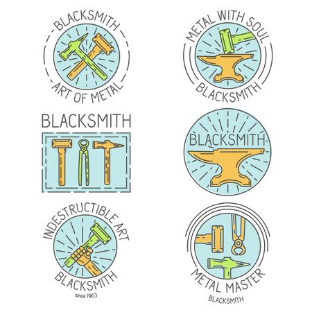 blacksmith shop: Set of logo, elements and logotypes for blacksmith and shop Illustration