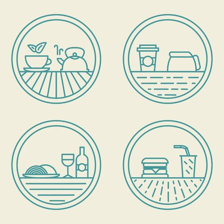 badge vector: Vector badge templates fast food concept in trendy outline style
