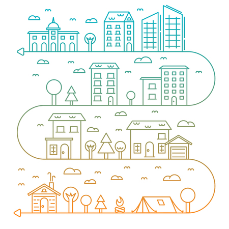 properties: Vector city illustration in line art style buildings, trees and clouds - graphic design template