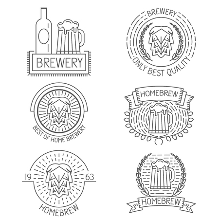 brew: Set of badges, labels and templates in trendy linear style about beer, brewery, home brew for logo design, illustrations or web Illustration