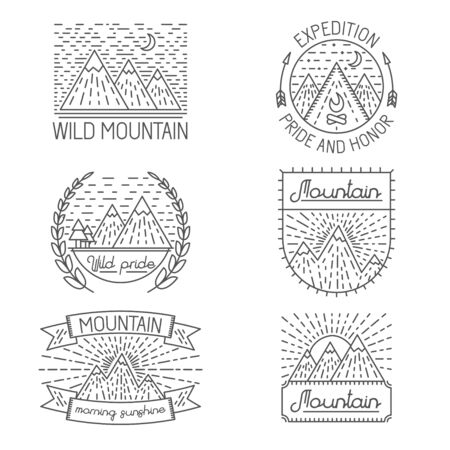 linear art: Set of badges and templates in trendy linear style about mountains for logo design, illustrations or web Illustration