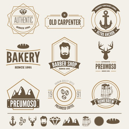 retro badge: Retro Vintage Insignias set, vector design elements, signs, logos,  and other branding objects.