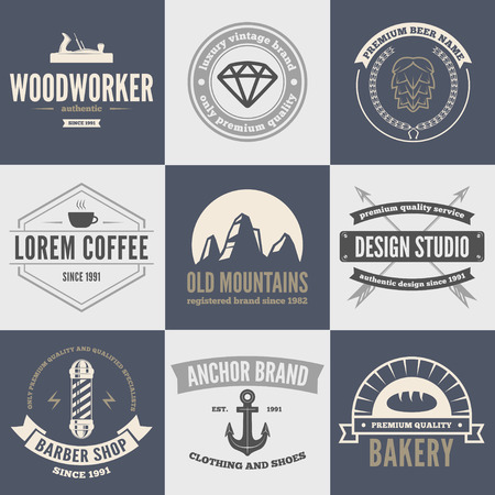 shirt: Retro Vintage Insignias set, vector design elements, signs,  and other branding objects. Illustration