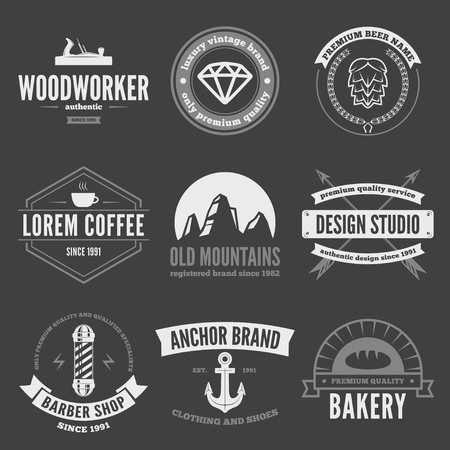 company logo: Retro Vintage Insignias set, vector design elements, signs, logos,  and other branding objects.
