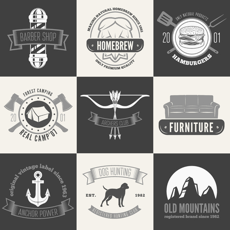 old style lettering: Retro Vintage Insignias set, vector design elements, sign,  and other branding objects.