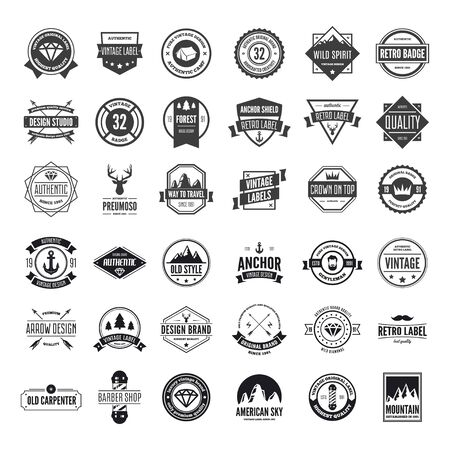 Collection of vector logotypes elements, icons, symbols, labels, badges and silhouettes