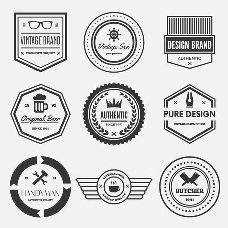 sticker design: Collection of vector logotypes elements, icons, symbols, labels, badges and silhouettes