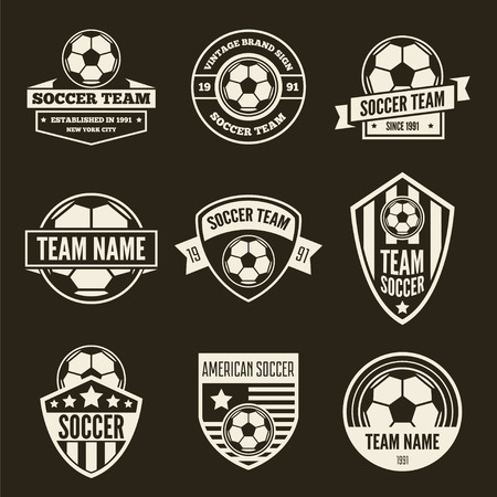 Collection of vector logotypes elements, icons, symbols, labels, badges and silhouettes for soccer and football Illustration