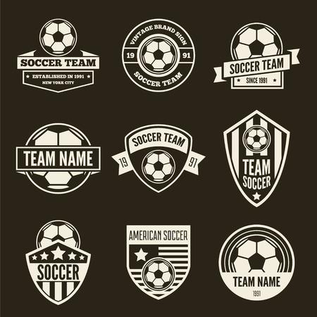 Verzameling van vector logo elementen, pictogrammen, symbolen, etiketten, insignes en silhouetten voor voetbal en voetbal Logo