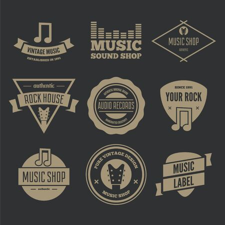 logotypes: Collection of vector logotypes elements, icons, symbols, labels, badges and silhouettes for music shop Illustration