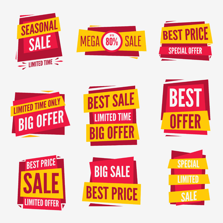 sale tag: Special offer sale tag discount symbol set isolated on white background modern graphic style vector illustration