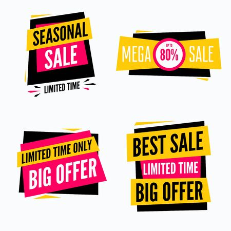 discount tag: Special offer sale tag discount symbol set isolated on background modern graphic style vector illustration Illustration