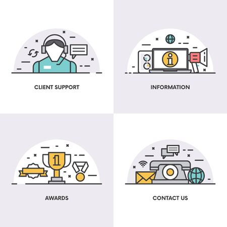 contact information: Vector illustration with linear design. Concepts and icons for client support, information, awards and contact page Illustration
