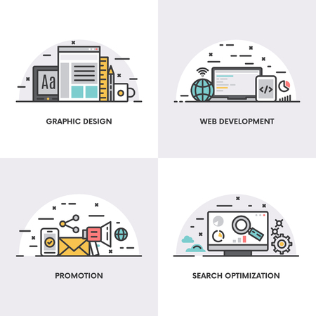 web development: Vector linear design. Concepts and icons for graphic design, web development, promotion and search optimization Stock Photo