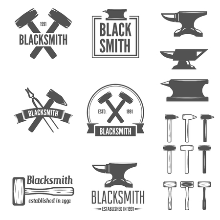 Set of vector logotypes elements, labels, badges and silhouettes for blacksmith Ilustração