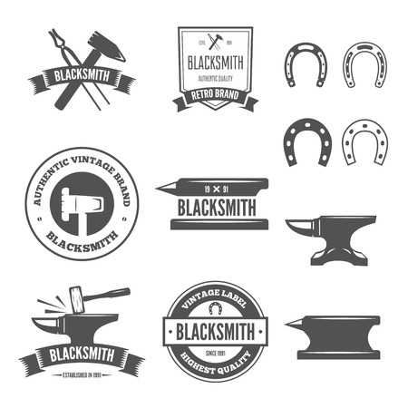 Set of vector logotypes elements, labels, badges and silhouettes for blacksmith Illustration
