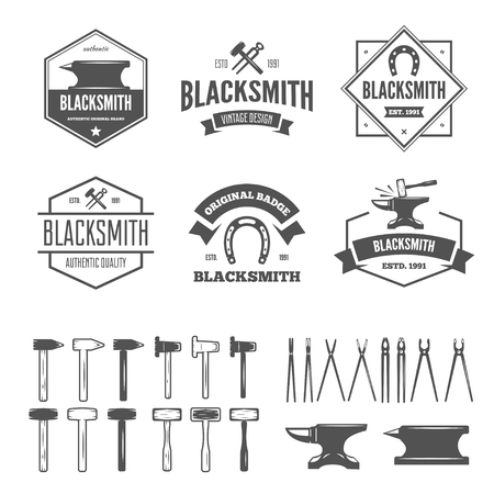 Set of vector logotypes elements, labels, badges and silhouettes for blacksmith Çizim