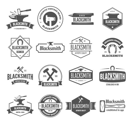 Set of vector elements, labels, badges and silhouettes for blacksmith Stock Vector - 87769220