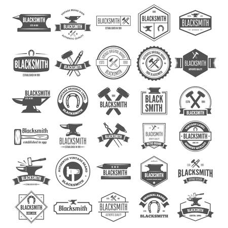 Set van vectorelementen, etiketten, badges en silhouetten voor smid