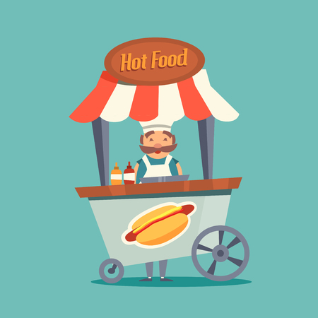 Happy seller of hot dogs. Colorful positive illustration in cartoon style