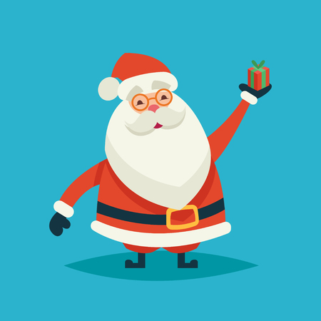 Happy cartoon funny santa claus holding a gift on a blue background Stock Photo