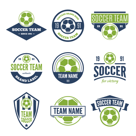Collection of white, green and blue Vector Soccer logos