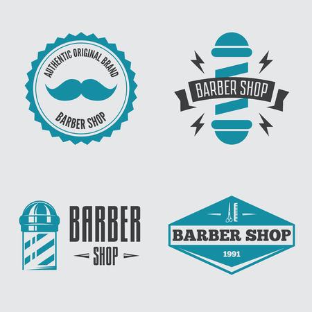 Set of retro barber shop logo, labels, badges and design element Stock Illustratie
