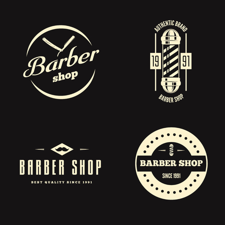 Set of retro barber shop logo, labels, badges and design element Stock Illustratie