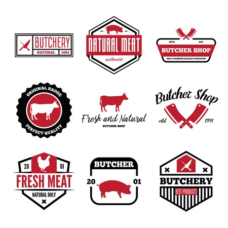 Vintage set of vector butchery labels, badges and design elements
