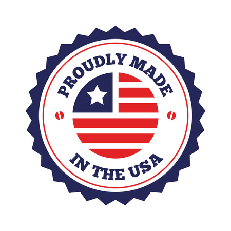 Vector set of made in the USA labels and badges on white background Çizim