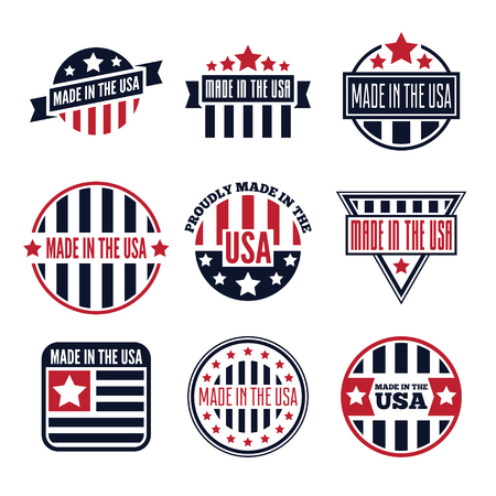 Vector set of isolated made in the USA labels and badges on white background Ilustrace