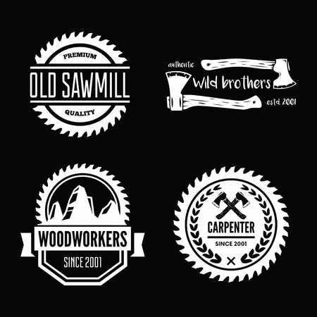 Set of vintage carpentry, woodwork and mechanic labels, badges, emblems and logo.