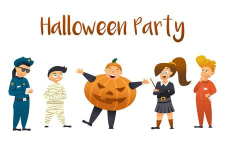 Halloween Kids Costume Party. Group of kids in halloween costume. Zdjęcie Seryjne