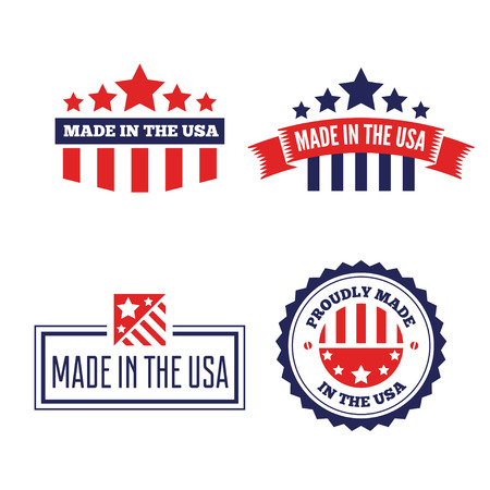 Set of Vector labels, logo, badges and signs made in USA Logo