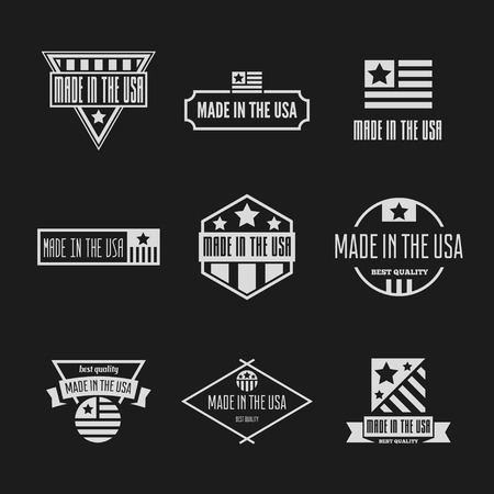 Set of Vector labels, logo, badges and signs made in USA