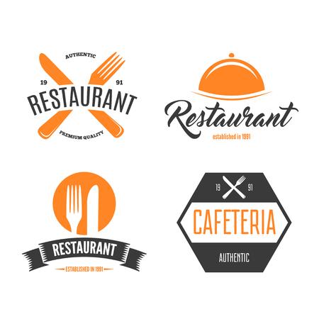 Restaurant Logos, Badges and Labels Design Elements set in vintage style Logo
