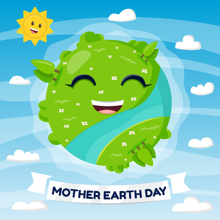 Illustration of a Happy Earth Mascot Ilustrace