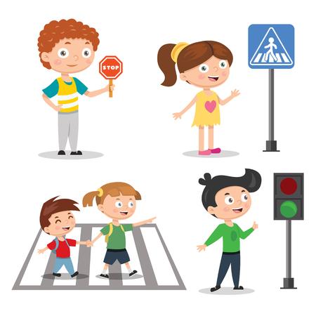Set di bambini che insegnano la sicurezza stradale. Segnale semaforico con indicatori vai e stop. Illustrazione vettoriale Vettoriali