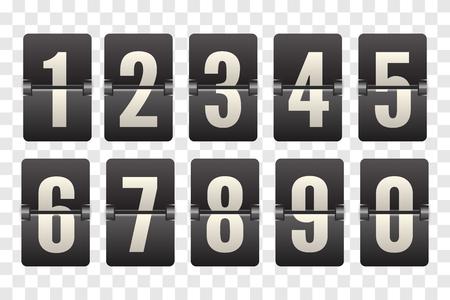 Números del marcador mecánico. Voltear el contador de reloj de cuenta regresiva. Dígito blanco en tablero negro. Tablero abatible de cuenta regresiva con marcador
