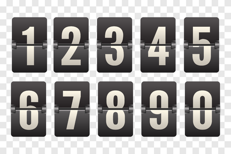 Numbers from Mechanical Scoreboard. Flip countdown clock counter. White digit on black board. Countdown flip board with Scoreboard