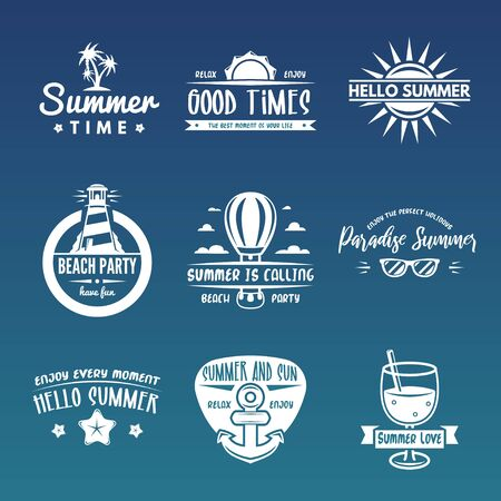 Summer labels, logos,   tags and elements set for summer , travel or vacation, sun. Vector illustration. Иллюстрация