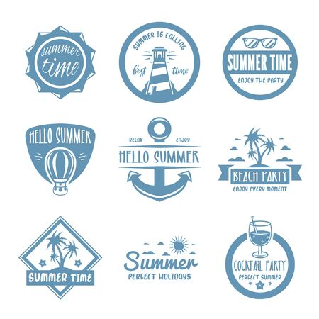 Summer labels, logos, hand drawn tags and elements set for summer holiday, travel or vacation, sun. Vector illustration.