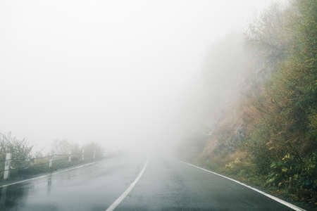 On a foggy road along nature with a limited view. Rood in fog.