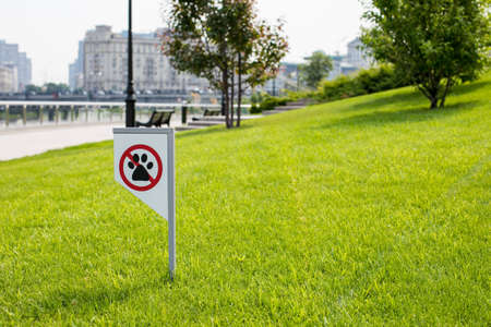 prohibiting sign you can not walk with a dog on green lawn. Walking no animals Banque d'images - 124512051