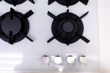Modern kitchen gas stove close up. Gas stove