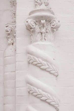 Elements of architectural decorations of buildings, gypsum stucco, wall texture, plaster ornaments and patterns